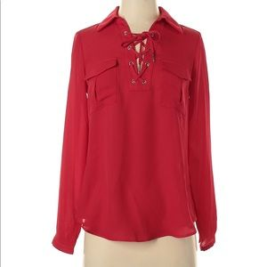 2/$30 Candies Red Long Sleeve Lace Up Top S